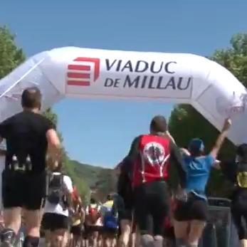 Arrivée de la course Eiffage du Viaduc de Millau